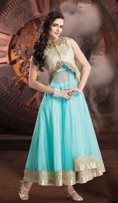 USD 278.91 Blue Net Designer Salwar Kameez     36140