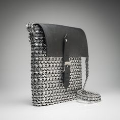 """Crossbody """"oxford"""" bag made from pop can tabs. Pop Can Tabs, Oxford Bags, Eco Friendly Bags, Pop Cans, Black Oxfords, Winter Collection, Bag Making, Tote Bag, Handmade"""