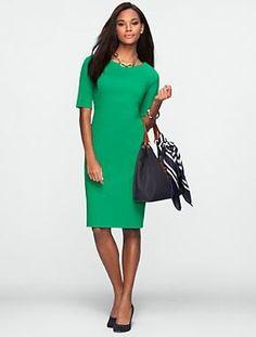 Talbots - Elbow-Sleeve Ponte Dress | Dresses | Petites