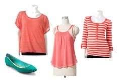 Coral Shirts from Kohls! Perfect for layering and Fall.