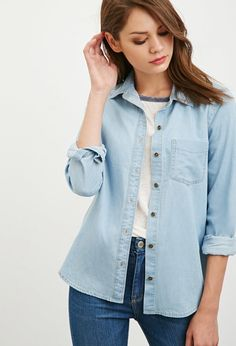 $14, Forever 21 Cotton Denim Shirt. Sold by Forever 21. Click for more info: https://lookastic.com/women/shop_items/313673/redirect