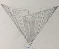 Three point perspective of city