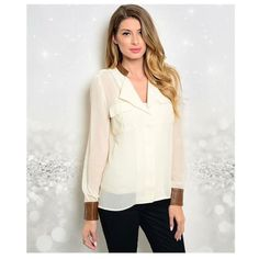 New Sassy Sheer Button Up w/ Faux leather details OMG! How cute is this Cream top with faux leather cuffs and collar? This button up shirt is lightweight and sheer. Featuring two pockets on the front. Fabric Content : 50% cotton 50% polyester. Naturally Spiritual Boutique Tops Button Down Shirts