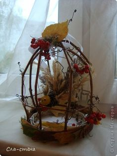 Twig Crafts, Nature Crafts, Decor Crafts, Diy And Crafts, Diy For Kids, Crafts For Kids, French Beaded Flowers, Bird Cages, Fall Diy