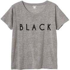 Monki Emma tee (£4.64) ❤ liked on Polyvore featuring tops, t-shirts, shirts, tees, warm grisaille, black t-shirt, black top, shirts & tops, monki and black tee