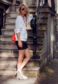 leather mini skirt, reeboks & sweater