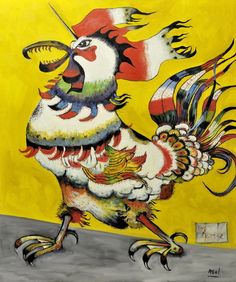Jean Dallaire Canada), Coq licorne, Oil on canvas, x 91 cm. Art Actuel, Animal Symbolism, Chicken Art, Chicken Items, Art Calendar, Chickens And Roosters, Art Prints For Sale, Canadian Artists, Art Plastique
