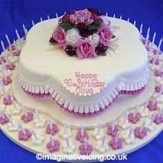 Pretty Posy Petal Shaped 90th Birthday Cake With Pink Frills 90 Candles Cards