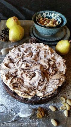 Brownie-Birnenkuchen mit Baiser