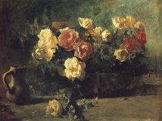 Emil Carlsen flowers | Emil Carlsen Still Life with Flowers (also called Roses), 1885