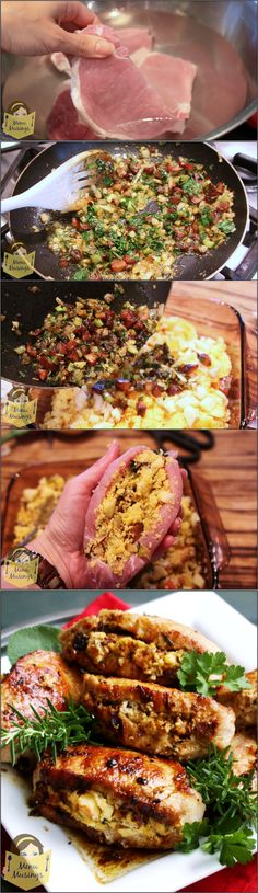 Stuffed Pork Chops - thick cut pork loin chops stuffed with a sweet and savory apple, tasso, and cornbread mix.  Was absolutely delicious!!  Follow me with step-by-step photos! herbs, stuf pork, food, stuffing, cornbread, apples, recip, herb stuf, pork chops
