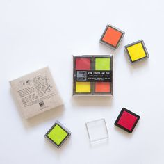 Neon Chroma Ink Pad Set - Pink/Orange/Green/Yellow - product images  of