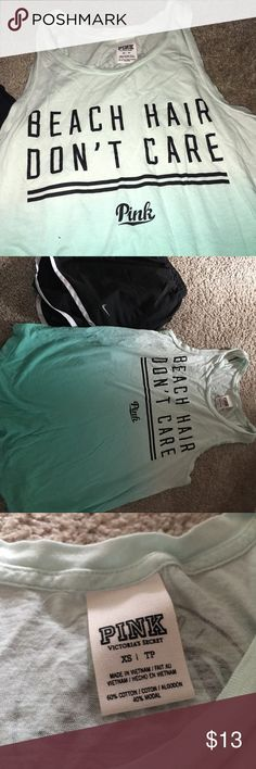 """VS PINK BLUE TANK TOP ♡Victoria Secret PINK Ombré Bluegreen Tank Top ♡Great condition, worn a few times, no flaws! ♡Bluegreen ombré color with """"Beach Hair Dont Care"""" ♡Super soft material ♡Sizing = XS = fits like a small ♡Perfect for working out, or even summertime ❗️Always open to offers, Ask Questions❗️ ‼️Bundle to save‼️ PINK Victoria's Secret Tops Tank Tops"""