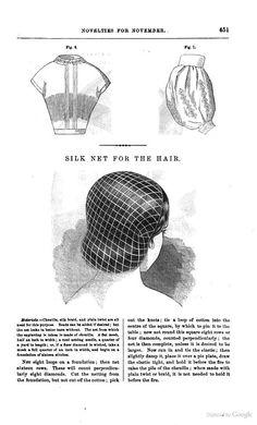 """Godey's magazine - Google Books. """"Silk net for the hair."""" 1859, November."""