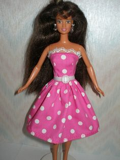 Handmade Barbie clothes  pink and white polka by TheDesigningRose, $7.00