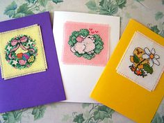 Cross Stitch Blank Cards Spring Themed Cards by WitsEndDesign