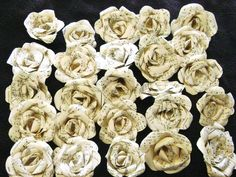 I made 25 mini roses for you out of my vintage hymnal music pages (Or I have some from