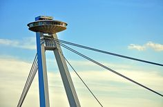 Bratislava - UFO bridge and tower Bratislava Slovakia, Constructivism, Flying Saucer, European Countries, Most Beautiful Cities, Capital City, Art And Architecture, Towers, Old Town