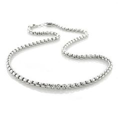 Mens Heavy 300 Gauge 925 Sterling Silver Square Box Chain Necklace For Men For Teen Made In Italy 16 18 20 24 30 Inch Mens Sterling Silver Necklace, Silver Chain Necklace, Sterling Silver Necklaces, Silver Jewelry, Bling Jewelry, Jewelry Box, Chain Jewelry, Men Necklace, Silver Bracelets