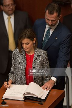 Queen Letizia (L) and King Felipe VI of Spain (R), sign the guestbook after a speech aimed to the members of Mexican Senate at Senate on June 30, 2015 in Mexico City, Mexico. The Spanish Monarchs are in their second state visit since the proclamation of Felipe VI as Spanish King last June 19th of 2014.