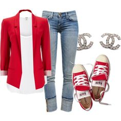 A beauty collage from April 2013 featuring white top, red blazer and ripped jeans. Browse and shop related looks.