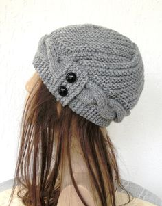Hand Knit Hat Womens Hat Cloche Hat in Silver Gray by Ebruk, $35.00