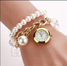 Heiß Auf Ebay Armbänder Uhren 2015 Fashion Frauen Dame Faux Perle Strass Anhänger Bling Kette Armband