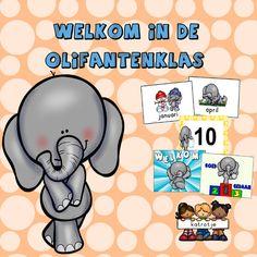 welkom in de olifantenklas van katrotje boordevol materialen voor in de kleuterklas zoals maandkaarten, verjaardagskalender, cijferkaarten,...