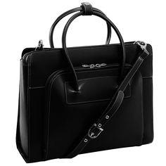 McKlein Women s Black Lake Forest Italian Leather Laptop Tote  3224f40c703c6