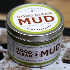 For the gardener, mechanic or everyday ... Good Clean Mud hand cleanser. Gets off epoxy, resin, ink, guts, etc. A natural product, made with bentonite clay and natural. beneficial oils. By Fieldworks Supply Company, Portland, Ore.