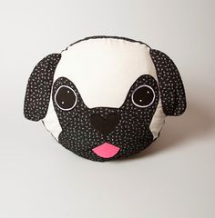 Black and white Pug cushion made from cotton