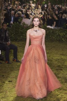 Lovely Peach Gown with Spaghetti Straps by Christian Dior Spring 2017 Couture Fashion Show Collection