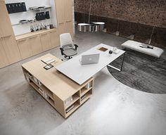 Havicmeubelen-kantoor.nl - Planet directiebureau ringpoot met aanbouwkast in houtdecor - Directiebureaus - Directie