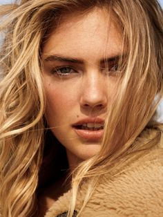 Kate Upton gets her closeup with her hair in tousled waves for Glamour Magazine October 2016