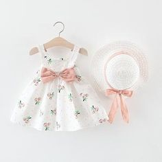 FDSD Baby Clothes Toddler Girls Dresses Summer Sleeveless Camisole Cherry Printed Backless Cute Princess Dress with Hat Baby Kleidung Set, Toddler Girl Dresses, Girls Dresses, Cherry Baby, Baby Driver, Cherry Dress, Cute Princess, Matching Family Outfits, Girl Clothing