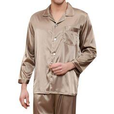 b22f0b2b6f Mens Imitation Silk Smooth Loose Pajamas Set Casual Home Loungewear -  Purple Silk Pajamas Men