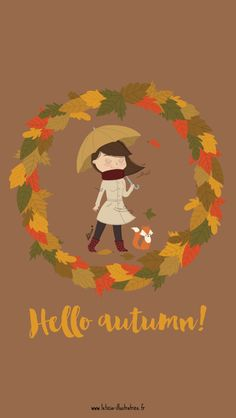 Hello Autumn Fox Girl iPhone Lock Wallpaper @PanPins