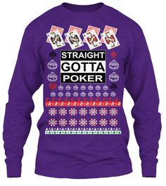 Ugly Poker Christmas Sweater Purple Long Sleeve T-Shirt Front