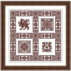 scheme pattern diagram antique bestiary inspired by LenaCrossStich