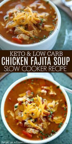 Crock Pot Chicken Fajita Soup – Low Carb Crock Pot Chicken Fajita Soup Recipe Crock Pot Chicken Fajita Soup is easy to make and tasty. The entire family will enjoy this Low Carb Crock Pot Chicken Fajita Soup recipe. Slow Cooker Soup, Slow Cooker Recipes, Diet Recipes, Cooking Recipes, Healthy Recipes, Recipes Dinner, Dessert Recipes, Thm Soup Recipes, Health Soup Recipes