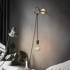 Circus Loop Minimalist Wall Light With Wall Socket - Tudo&Co – Tudo And Co Bedroom Lighting, Wall Sconce Lighting, Apartment Lighting, Loft Lighting, Sconces, Fischli Weiss, Luminaria Diy, Loft Door, Loft Wall