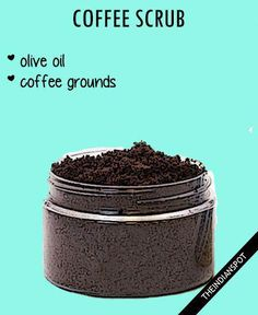 Get the silkiest, smoothest skin Coffee scrub Aromatic coffee scrub made with fresh coffee powder awakens the senses as it exfoliates, cleanses and Stimulates circulation in the skin. 1 cup coffee grinds 1/2 cup olive oil Mix and massage on your face as well as your body for a rejuvenating spa treatment at home. Lavender … #FaceScrub #CucumberFaceMask Coconut Oil Sugar Scrub, Sugar Scrub For Face, Diy Face Scrub, Face Scrub Homemade, Homemade Moisturizer, Coffee Cellulite Scrub, Coffee Face Scrub, Natural Body Scrub, Natural Face