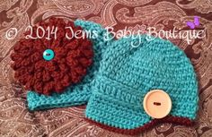 Cute Crochet Fraternal Twin Hats, Toddler Boy Hat with wood button, girl hat w/large removable flower, Photo Prop Beanie on Etsy, $30.00