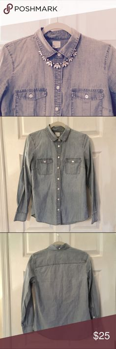 J. Crew Chambray Button Down Classic chambray shirt. Can be worn open, buttoned all the way up, or around the waist! Size is small but J. Crew runs big so could be a medium. J. Crew Tops Button Down Shirts