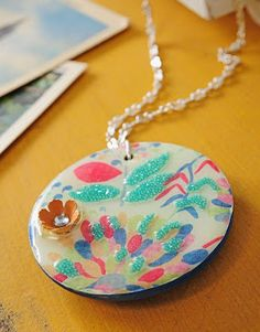 Cute pendant DIY using craft paper, Mod Podge, and micro beads