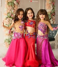 3 cuties Dance Dresses For Kids, Cute Girl Dresses, Dresses For Tweens, Cute Dance Costumes, Tutu Costumes, Belly Dance Costumes, Pageant Swimwear, Pageant Gowns, Brown Evening Dresses