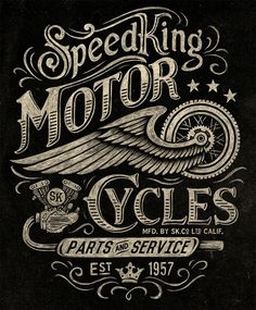 Typography Motorcycle inspired vintage graphics by Michael Hinkle