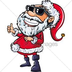 Santa wearing sunglasses with a big smile. Isolated on white Christmas Cartoon Pictures, Christmas Cartoons, Christmas Cards, Cartoon Pics, Disney Characters, Fictional Characters, Santa, Smile, Big