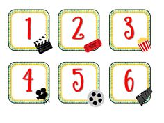 Hui Chan Hui Chan Ferris Polek Polek Kuntz I don't know if Kindergarten or first grade need calendar numbers for their rooms, but I thought these would be perfect. Hollywood Theme Classroom, Classroom Themes, Classroom Activities, Classroom Organization, Movie Themed Rooms, Movie Themes, School Decorations, School Themes, School Ideas