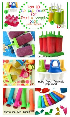 Top 10 Ice Pop Molds for Fruit and Veggie Pops - We've been posting so many homemade, healthy popsicles this summer! Here's the 411 on which pop molds we like the best. Super Healthy Kids, Healthy Meals For Kids, Healthy Treats, Kids Meals, Fruit Lollies, Fruit Pop, Healthy Popsicles, Homemade Popsicles, Popsicle Recipes